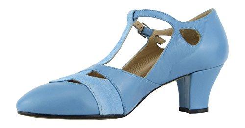 Rumpf Premium Line 9233 Damen Swing Lindy Hop Balboa Tanz Schuhe Leder Absatz 5 cm, Blau, 38 EU - 3