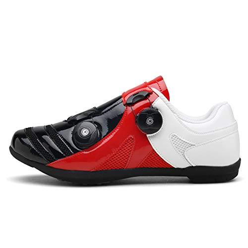 AIFXZ Selbstsichernde Unisex-Rennradschuhe, rutschfeste, Abriebfeste Sportfahrrad-Turnschuhe MTB-Trainer Ultraleichte, sportliche Rennschuhe,Black-44