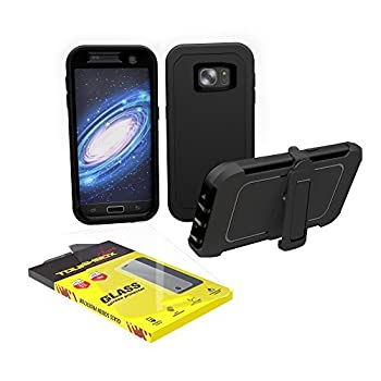 Galaxy S7 Edge Case ToughBox [Armor Glass Series] [Shockproof] [Black] for Samsung Galaxy S7 Edge Case [Tempered Glass Screen Protector] [Holster & Belt Clip] [Fits OtterBox Defender Series Clip]