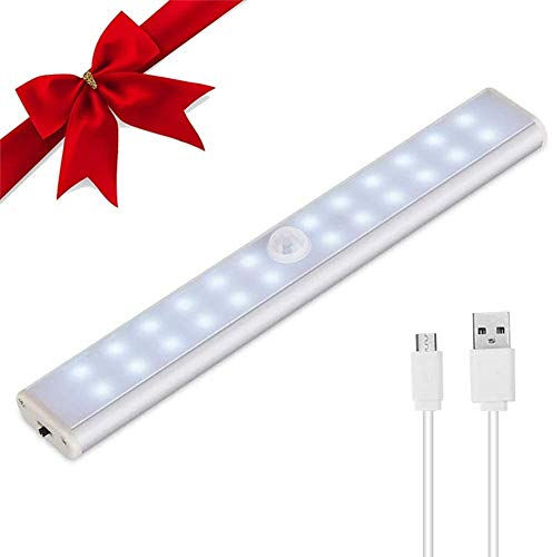 Luce Armadio,LACYIE 24 LED Barra LED Sottopensile con Sensore di Movimento,3 Modalità e Batteria USB Ricaricabile,Striscia Magnetica Adesiva Luce Notturna per Scale,Corridoio,Cucina(Bianco Freddo)