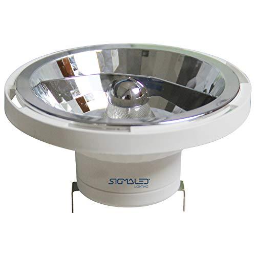 SIGMALED LIGHTING FOCO LED AR111 G53 14W (=110W halógeno), 1000 lúmenes, luz LED blanca cálida 3000K. Bombilla led AR111 de bajo consumo de interior, clase de eficiencia energética A+