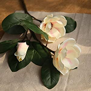 TRRT Fake Plants Artificial Magnolia Flower Branch, Silk Fake Blossom Flowers with Leaf, Party Shop Home Decor Fake Flower (Color : White Purple)