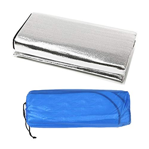 JIE Estera de Papel de Aluminio Impermeable Plegable de Doble Cara Estera de Playa de Viaje al Aire Libre Plata 150x200x0.25cm