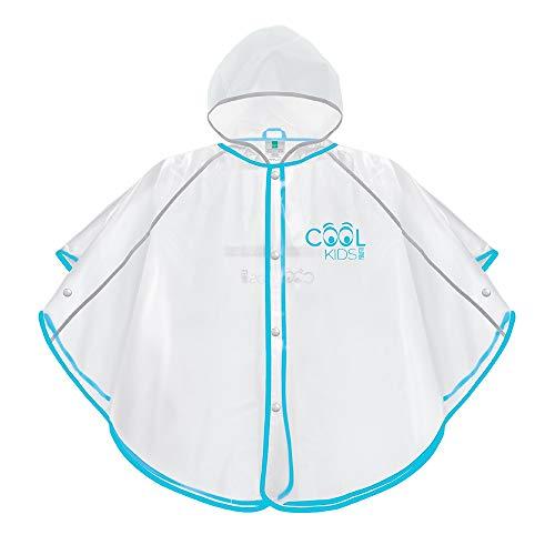 PERLETTI Regenponcho für Kinder Jungen Mädchen - Weiche Regenjacke Blau Transparent mit Reflektorenbänder - Regencape Wasserdicht mit Kapuze und Knöpfe - Cool Kids (3/6 Jahren, Hellblau)