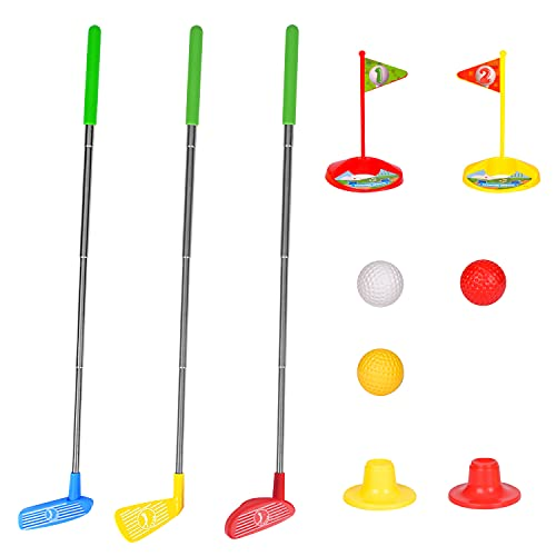 UMESONG Kids Golf Set, Mini Golf Club Set Outside Retractable Early Educational Golf Set Toy for Toddler, Lawn Outdoor and Indoor Sports Toy for Children, Gifts for 3 4 5 6 Year Old Boys, Girls