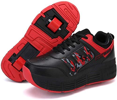 XPF Zapatos para Niños con Ruedas Zapatos De Skate con Ruedas Patines Ligeros Ruedas para Niños Niñas Adultos Jóvenes,Red-38