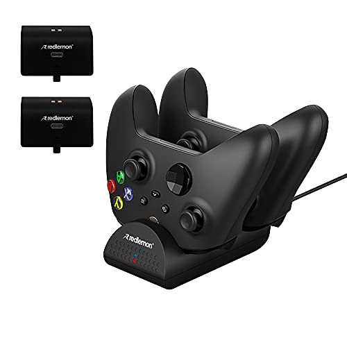 Redlemon Cargador para Controles de Xbox Series X y Xbox One con Indicadores LED con 2 Baterías Recargables, Estación de Carga y Pilas para Control Xbox, Cargador de Corriente con Cable Integrado
