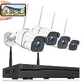 Überwachungskamera Set Aussen, Funk Überwachungskamera System mit 8CH NVR und 4PCS 1080P WiFi-kameras, Wireless Kamera Set mit Bewegungserkennung, IP66 Wasserdicht, Nachtsicht, Fernzugriff(no HDD)