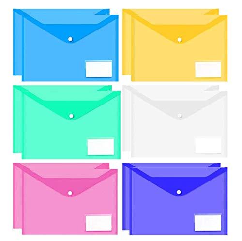 A4 Carpetas de Archivos de Plástico, Paquete de 12 Transparente Portafolios Documentos Sobre de Tamaño con Botón a Presión (Colorido)