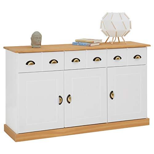 IDIMEX Anrichte Kommode Apothekerschrank Apothekerkommode Sideboard Paris mit 3 Schubladen 3 Türen, Kiefer massiv weiß/braun lackiert