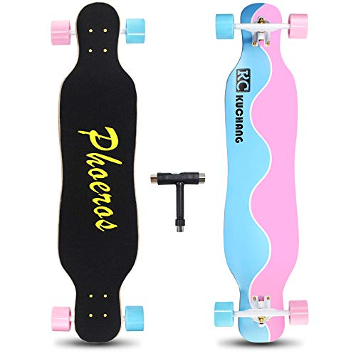 Phoeros Longboard Skateboards-41inch Complete Longboard Cruiser Skateboard with Flashing Wheels for Adults Beginners Girls Boys Teens Youth Men-8 Layers Canadian Maple Longboard Cruisers for Carving