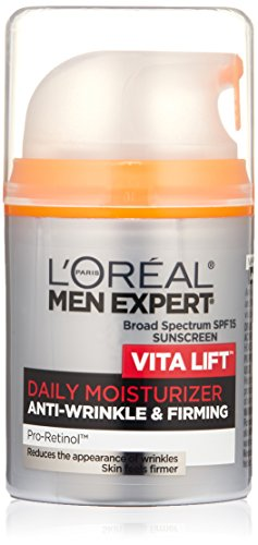 Face Moisturizer for Men, Lightweight Daily Face Lotion for men, L'Oreal Paris Skincare Men Expert Vitalift Anti-Wrinkle & Firming Face Moisturizer with SPF 15 Sunscreen and Pro-Retinol, 1.6 oz