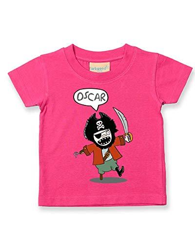 Ice-Tees T-shirt personnalisé pour bébé/enfant Motif pirate - Rose - 2-3 ans