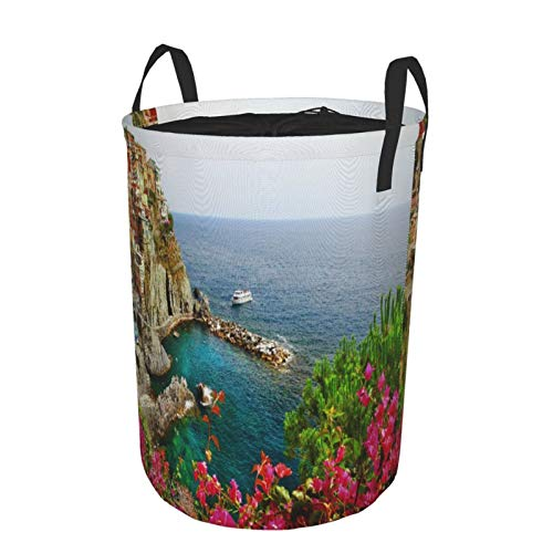 Plegable Grande Cesto de Ropa Sucia,Antiguo pueblo de Monarola en Cinque Terre Panorama costero Vista panorámica de la playa de verano,Lavandería Cesta de Almacenaje Impermeable con Cordón,14' x 19'
