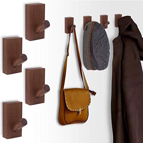 SKOLOO Rustic Wall Mounted Coat Rack: Pack of 2, Wooden Coat Hook Hanger - 5 Hooks for Hanging Clothes Robes Towels Coats