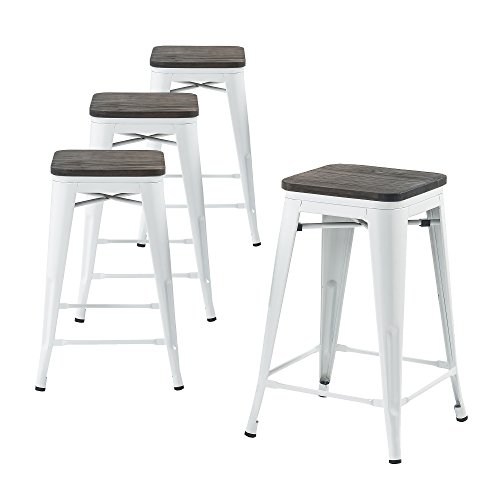 Buschman Metal Bar Stools 24 Counter Height, Indoor/Outdoor, Stackable, Set of 4 (Bronze with Premium Wooden Seat)