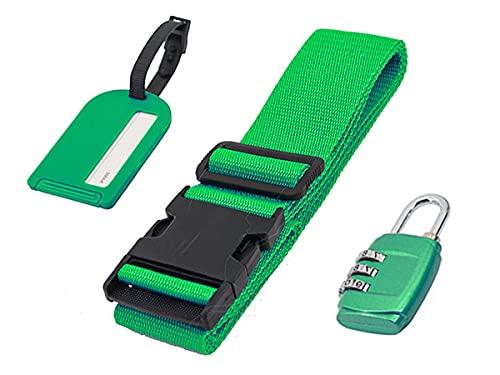Cinghie Valigia 5X200cm + Lucchetto Valigia TSA a Combinazione + Etichetta Valigia Tabella Nome - Kit Da 3 Pezzi Per Bagagli e Valigie (Verde)