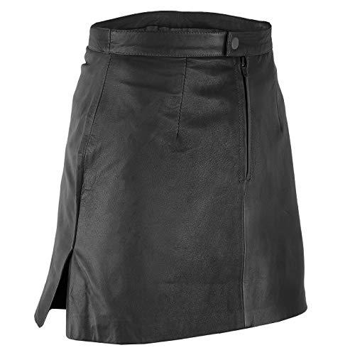 Trendiger Mini Lederrock aus Lammnappa Business Rock Echtleder, 46, Schwarz