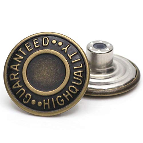 20mm GHQ Replacement Jean Tack Buttons No Sew Metal Buttons for Denims, Jeans, Jackets,12 Sets (Bronze)