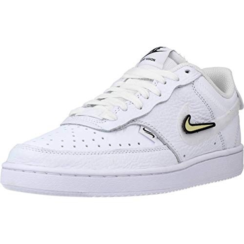Nike Wmns Court Vision LO VDAY, Zapatillas de bsquetbol Mujer, White White Black LT Liquid Lime LT Thistle Sunset Pulse, 42 EU