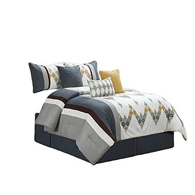 HGS 7-Pc Diamond Ornate Chevron Zigzag Embroidery Comforter Set King Slate Blue Silver Gray Off-White Brown Gold