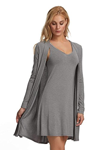 Felina | Modal Tank Chemise & Wrap | 2-Piece | Loose Fit | Loungewear (Heather Grey, Medium)