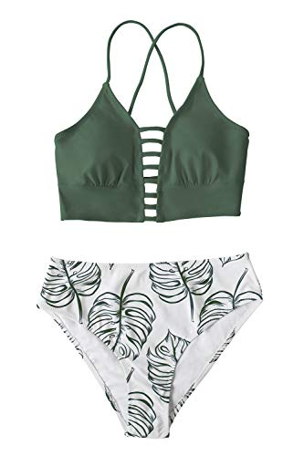 CUPSHE Women's Green White Mid Waisted Bikini Set Lace Up Two Piece Swimsuits, M