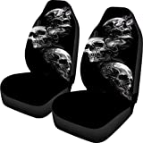 KEIAHUAN Skull Car Seat Covers Full Set of 2 Flat Fabric Car Seat Cover Automatic Seat Protector Universal Fit for Car SUV Truck Van (Black)