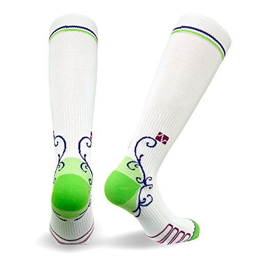 Eurosock Vitalsox Italian Graduated Compression Socks (1 Pair- Fitted) for Women Best for Running, Travel, Yoga, Nurses, Maternity Pregnancy, White, Large