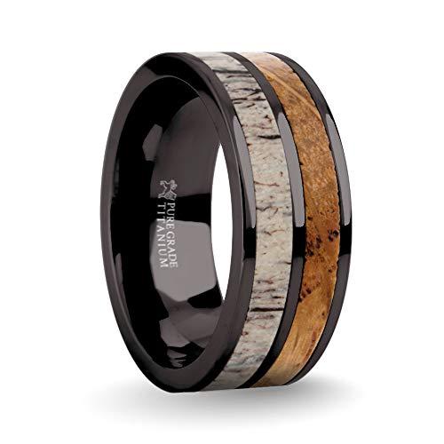 Hanover Jewelers Authentic Whiskey Barrel Wood, Deer Antler Gunmetal Gray Titanium Wedding Ring, 8mm, Size 9