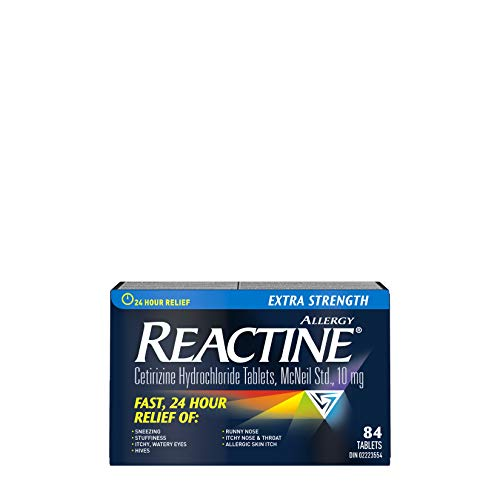 Reactine Extra Strength Antihistamine Tablets 10mg, 24 Hour Relief, Allergy Medicine, 84 Count