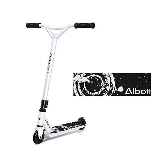 Albott Stunt Scooter, Roller kickscooter Pro Sport Trick Tretroller Cityroller Kickboard mit 360° Spin Fixed Bar für Kinder Junge Erwachsene (weiß und schwarz)