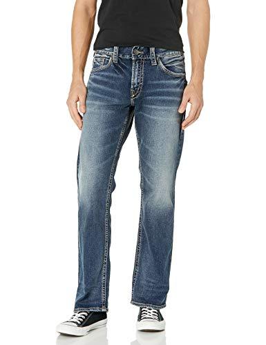 Silver Jeans Co. Men's Zac Relaxed Fit Straight Leg Jeans, Medium Indigo SJB380, 38W x 32L