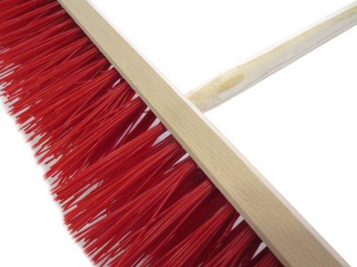 Straßenbesen 60 cm inkl. Holz-Besenstiel 140 cm Elaston rot für groben Schmutz/rauhe Böden Kehrbesen