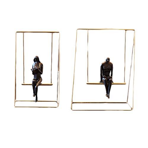 GAOYINMEI Rzeźba biurkowa statuetka metal żelazo abstrakcja postać statuetka huśtawka para gabinet biurko regał dekoracja ozdoby do wnętrz akcesoria do domu rzeźba (dwuczęściowa) (rozmiar: S+M)