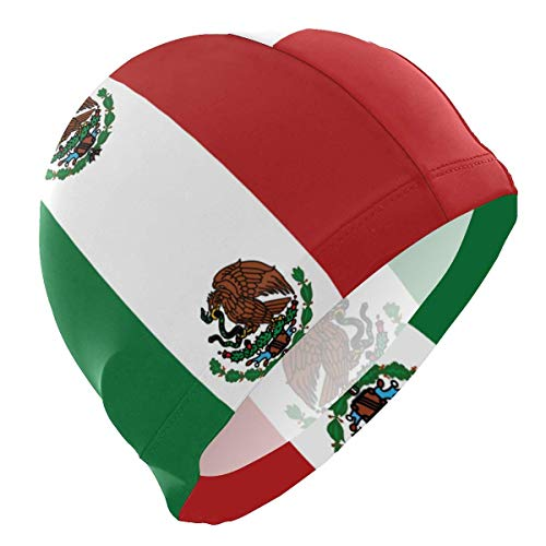 Agoyls Gorro de Baño/Gorro de Natacion,Dual Flag of Mexico Adult Swimming Cap 3D Ergonomic Swim Hat Reduce Resistance Bathing Cap for Men Women