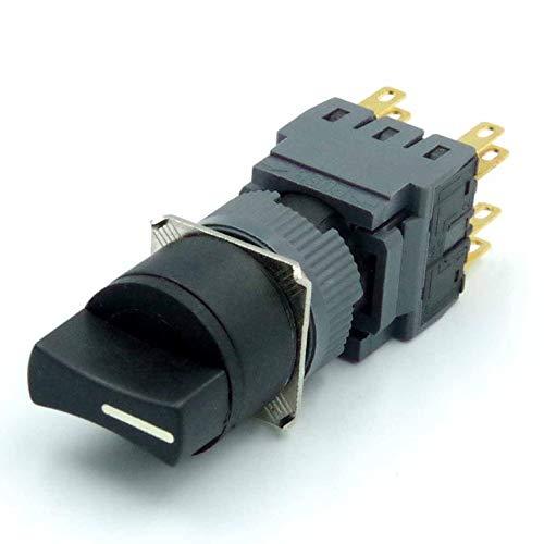 ETial 16mm Diámetro de corte del panel Interruptor selector rotativo momentáneo AC 250V 0.5A SPDT ON/Off 2 posiciones Cabeza redonda