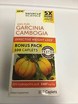 Nature's Science 100% Pure Garcinia Cambogia Bonus Value Size Bottle 100 Ct Caplets