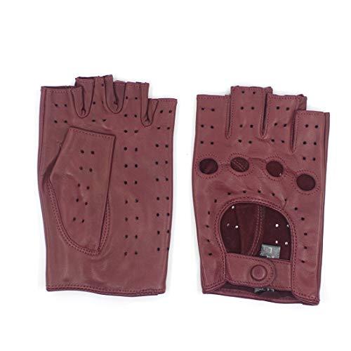 Harssidanzar mujer piel de oveja guantes de conducción de cuero sin dedos dedo medio forrado GL012