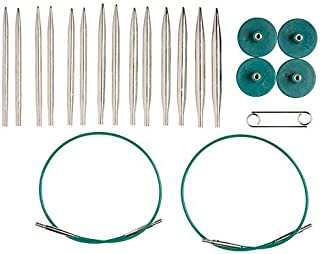 "Knit Picks Options 2-3/4"" Short Metal Interchangeable Knitting Needle Set (Nickel Plated)"