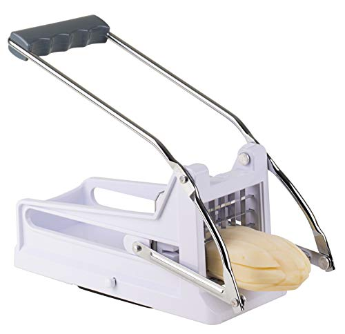 French Fry Cutter Potato Dicer - Strongest-and-Heaviest Duty Potato Cutter, Commercial Grade Vegetable and Potato Slicer, No-Slip Suction Base for Easy Slicing, Includes 2 Stainless Steel Blades