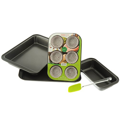 Cookmate 5-Piece Bakeware Gift Set, Charcoal Gray, 4 Pans & Rubber Spatula, by Unity
