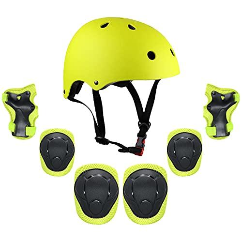 SUOTENG Equipo De Protección para Niños, Niños Multi Sports Protective Engranaje 7 en 1 Equipo de protección Casco Pads Conjunto para Scooter Skateboard Roller Patinaje Patinaje (Color : Green)