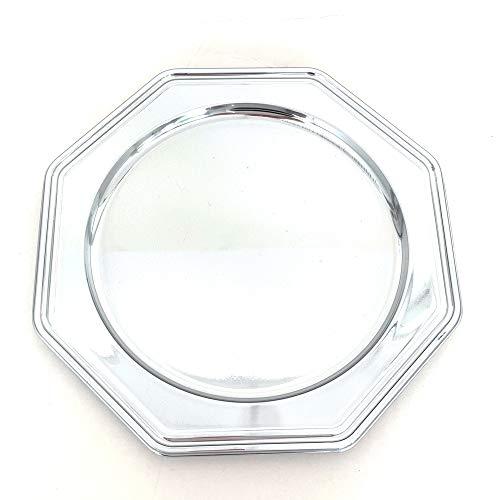 Conjunto de 5 bandejas Redondas en plástico metálico - Bandejas de presentación para Pasteles o Buffet frío (Plata, 30,5 cm)