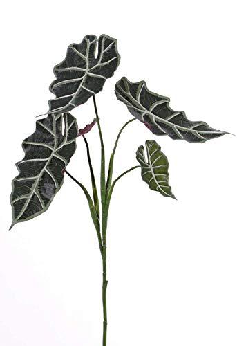 PARC Network - Kunstpflanze Alocasia, auf Steckstab, grün-weiß, 75cm - Pfeilblatt Künstlich - Elefantenohr Deko Pflanze - Pfeilblätter Künstlich