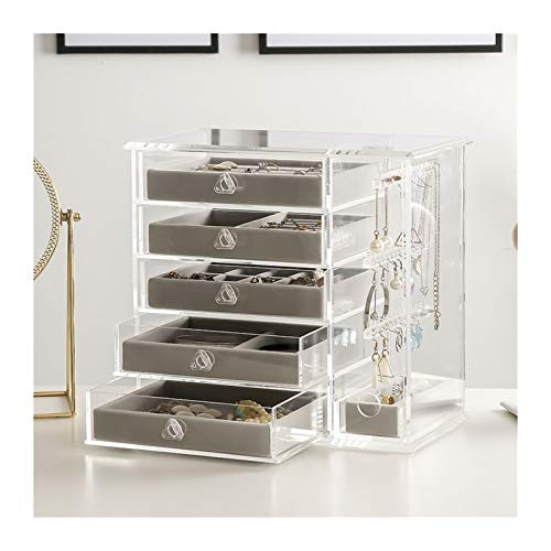 Jewelry Organizer Transparent Acrylic Jewelry Organizer Box, Clear Earring Holder Jewelry Hanging Boxes with 5 Velvet Drawers for Earrings Ring Necklace Bracelet Display Case for Women Gift Jewelry Bo