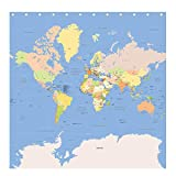 Mapa del mundo–detallados y precisos para 2017–Cortina de ducha (180x 180cm)