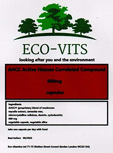 ECO-VITS AHCC Active HEXOSE CORRELATED Compound (1000mg) 365 CAPS. Biodegradable Packaging. Sealed Pouch