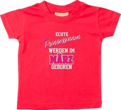 Shirtstown T-SHIRT ENFANTS véritable Princesses être im März né - rouge, 6-12 Monate