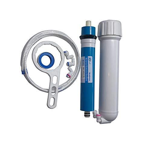 HUINING - Kit de carcasa de membrana de ósmosis inversa RO con conector rápido de 1/4 para válvula de retención, de filtración de agua residencial de hogar y hospitales